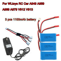 3x 1100mAh Battery+Charger+Cable For WLtoys RC Car A949 A959 A979 V912 V913 Toys