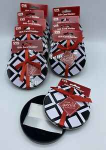Gift Card Holder Lot of 10 Black & White Round Tin Box w/ Red Bow Christmas More