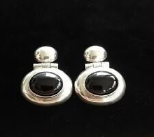Vintage Inger K Sterling Silver and Onyx Modernist Hinged Earrings