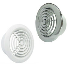 """4"""" 5"""" 6"""" White Chrome Ventilation Grille Duct Extractor Fan Bathroom 100 125 150"""