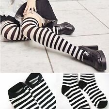 1Pair Black White Striped Over The Knee Socks Long Socks Stockings Thigh High