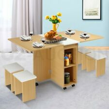 Dining Table and Chair 5 Piece Multifunctional Foldable Wood Furniture White&Oak