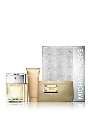 Michael Kors 3.4 oz edp Spray Body Lotion Rorrerball & Cosmetics Bag Gift Set