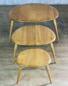 Ercol Windsor Pebble Nest Of 3 Tables - Light Beech & Elm Solid Wood
