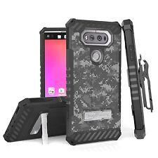 For LG V20 Hybrid Tri Shield Rugged Armor Clip Case Army Digital Gray ACU Camo
