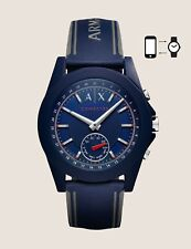 NWT A|X Armani Exchange Connected Hybrid Smartwatch Silicone Navy Blue AXT1002