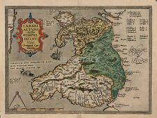 Map of Wales 1574 Old Vintage, Reprint 12x18 Inch