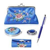 Blue Flower Pattern Compact Mirror Lipstick Case with Mirror Coin Vanity Travel
