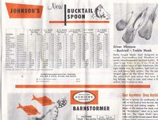 Great Vintage Johnson's Lures order form Bucktail Spoon Barnstormer, Caper more