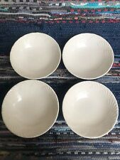 """4 pc Soup Cereal Bowl Lot Mikasa OCEAN JEWEL WHITE Shell 8"""""""