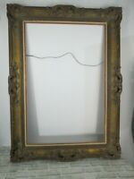 "Vintage 4"" Hand Carved Wood Large Frame 46"" x 33"" Ornate Antique Gold"