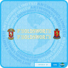 Holdsworth - Bicycle Decals Transfers Stickers - White Fill & Gold Keyline Set 7