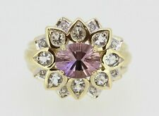 9ct Yellow Gold Amethyst & White Sapphire Ring Size N