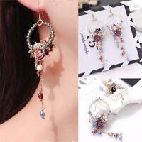 Frauen Ohrringe Kristall Perlen Blumen baumeln Quaste Ohrringe Schmuck Zubehör