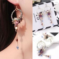 Women's Earrings Crystal Beads Flowers Dangle Tassel Earrings Jewelry Accessory