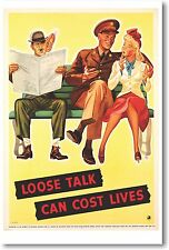 Loose Talk Can Cost Lives 2 - NEW Vintage Reprint POSTER