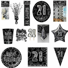 21ST Black Glitz Birhtday Party Supplies Decorations Tableware 18 items Free P+P