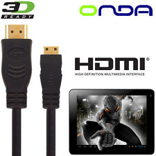 Onda Vi40, V972, Vi10, V812 Android Tablet PC HDMI TV 2.5m Gold Wire Lead Cable