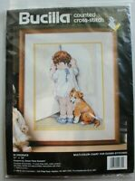 """Bucilla """"In Disgrace"""" Little Girl in Corner Puppy Dog Counted Cross Stitch Kit"""