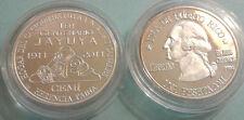 Silver PESETA 100Años JAYUYA 2010 Puerto Rico Boricua Quarter LETRA FINA plata