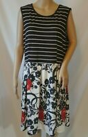Lily by Firmiana Sleeveless Knit Dress Size XL Black White Red Pleated Skirt