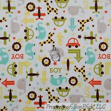 BonEful Fabric Cotton Quilt White Blue Yellow Airplane Car Baby Boy L SALE SCRAP