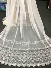 2.2 m Stunning Mykonos Lace - Sheer Curtain Lace-WHITE 300cm  drop Unheaded