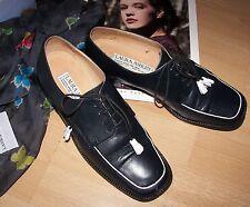 Laura Ashley vintage navy lea leather classic lace-up shoes size 37/38 4/5UK