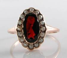 LUSH 9CT 9K ROSE GOLD MOZAMBIQUE GARNET & PEARL ART DECO INS RING FREE RESIZE