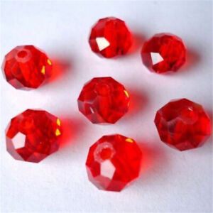FACETED RONDELLE CRYSTAL GLASS BEADS 3x4mm 6x8mm