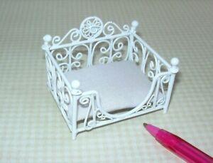 Miniature Fancy White Wire Pet Bed w/White Cushion: DOLLHOUSE 1:12