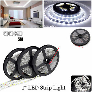 5M 300 LED Strip Light 5050 SMD Cool White Tape Flexible 12V Non-Waterproof