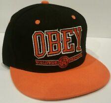 New Era OBEY Black/Orange Baseball Hat/Cap Snap Back Real Fire Embroidered Fr/Rr