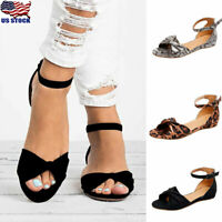 Womens Ankle Strap Sandals Summer Casual Open Toe Buckle Flats Shoes Size Size