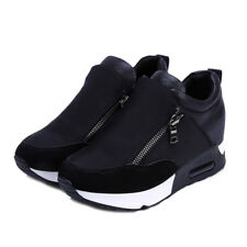 New Women Sneakers Zip Wedge Hidden Heel Running Sport Gym Casual Shoes Trainers