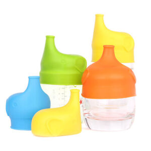 Elephant Cup Cover Baby Reusable Silicone Sippy Cup Lid Straw Spill Proof Lids