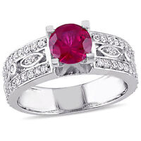 Sterling Silver Created Ruby and Created White Sapphire Cocktail Ring