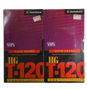 Radio Shack Blank VHS Video Cassette Tape HG T-120  2-4-6 Hr 2 Pack