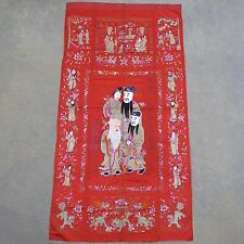 "Big Antique Chinese Red Embroidery Panel w/ Immortals & Foo Dogs  (107"" x 55.5"")"