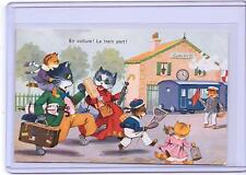 VINTAGE FRENCH DRESSED CATS RUNNING MISSING THE TRAIN #2001 POSTCARD M.D. PARIS