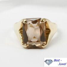 Vintage: Schöner schlichter Ring mit echtem Rauchquarz, 585 Gelbgold