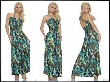 Maxikleid Printkleid bodenlanges Kleid Strandkleid mit Perlen grün 36 38 (1080)