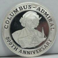 1992 Columbus Admiral 500th 1 oz 999 Fine Silver Discovery of America CC728