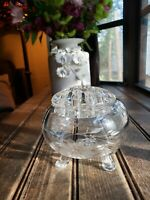 Beautiful Antique Vintage Acid Etched Glass Rose Pattern Flower Frog