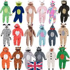 Animal Crazy Boys Girls 1Onesie Onesey Fleece Hooded Jumpsuit Playsuit Novelty