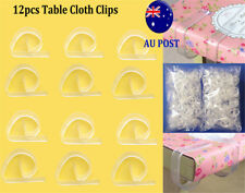 12XCHEFAID Clear 4 Table Cloth Clips Cover Secure Party Durable Holder Clamps MN