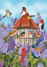 "FM167 BIRDS & LILACS FLOWERS BIRDHOUSE SPRING SUMMER 12""x18"" GARDEN FLAG BANNER"