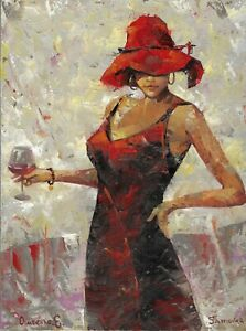 original painting 30 x 40 cm 2OE art samovar Modern oil woman in hat with wine