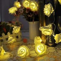 20 Led Rose Flower Light Party Xmas String Battery Bedroom Decor Warm White GA