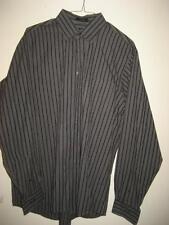 Calvin Klein Gray Black Stripe Cotton LS Shirt XL EUC